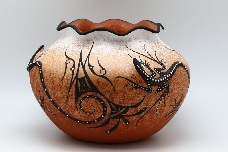Zuni Raised Lizard Pot-Lema's Kokopelli Gallery