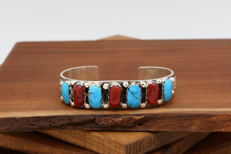 Zuni Red Coral and Turquoise Bracelet-Lema's Kokopelli Gallery