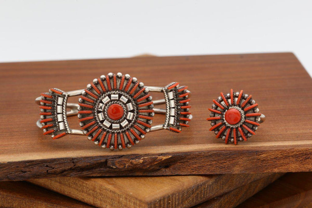 Zuni Red Coral Bracelet Ring Set-Lema's Kokopelli Gallery