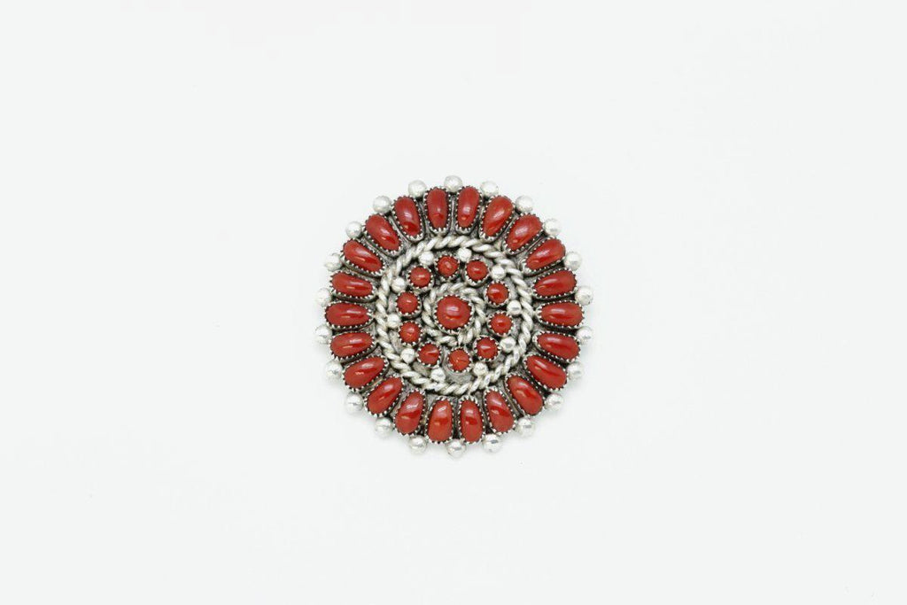 Zuni Red Coral Circle Brooch-Lema's Kokopelli Gallery