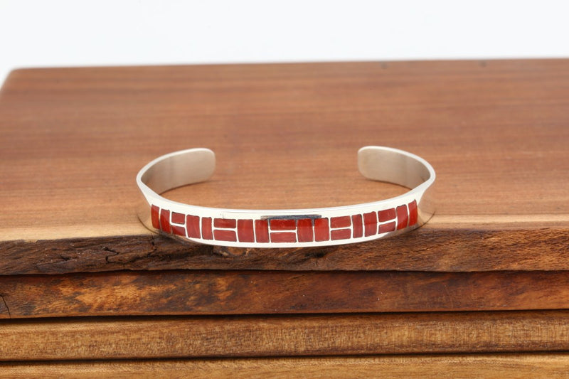 Zuni Red Coral Inlay Bracelet-Lema's Kokopelli Gallery