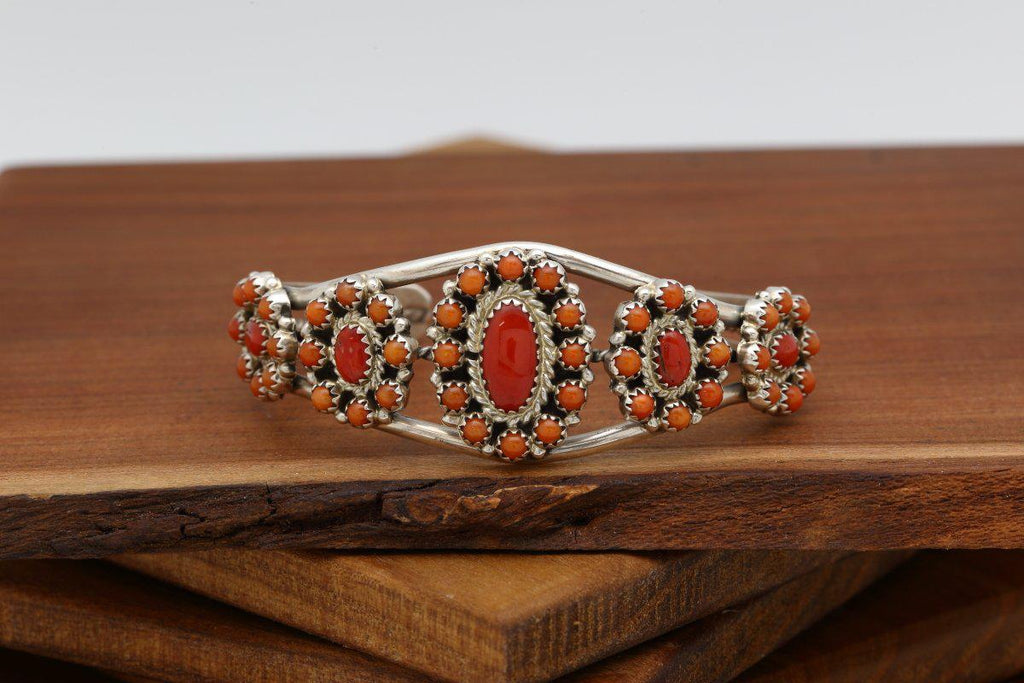 Zuni Red Coral Traditional Bracelet-Lema's Kokopelli Gallery