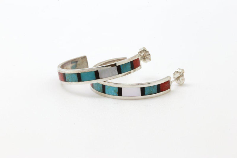 Zuni Half Hoop Multi Color Inlay Earrings-Lema's Kokopelli Gallery