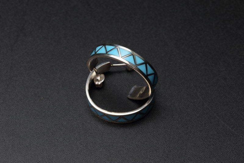 Zuni Half Hoop Turquoise Inlay Earrings-Lema's Kokopelli Gallery