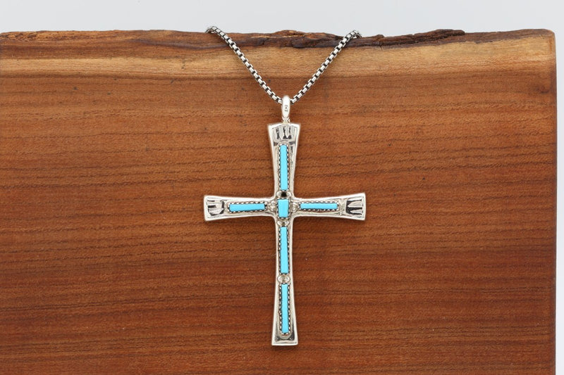 Zuni Sleeping Beauty Cross Pendant-Lema's Kokopelli Gallery
