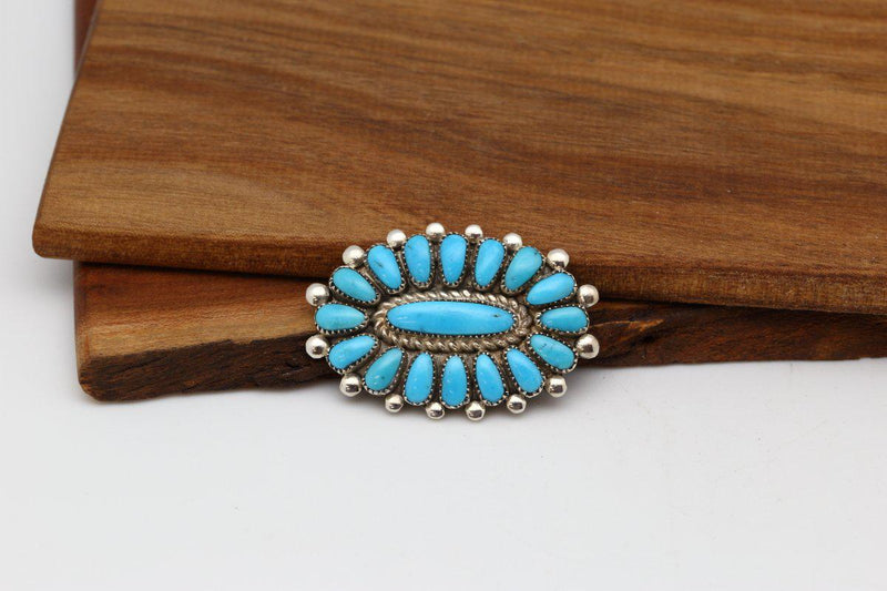 Zuni Sleeping Beauty Turquoise Brooch-Lema's Kokopelli Gallery