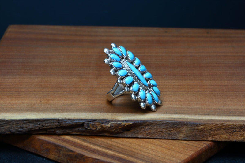Zuni Sleeping Beauty Turquoise Cluster Ring-Lema's Kokopelli Gallery