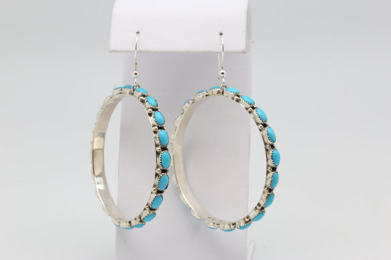 Zuni Sleeping Beauty Turquoise Dangle Earrings-Lema's Kokopelli Gallery
