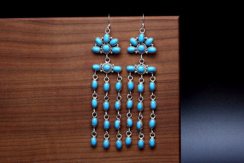Zuni Sleeping Beauty Turquoise Earrings-Lema's Kokopelli Gallery