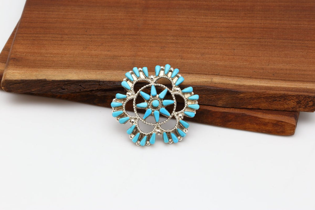Zuni Sleeping Beauty Turquoise Flower Brooch-Lema's Kokopelli Gallery