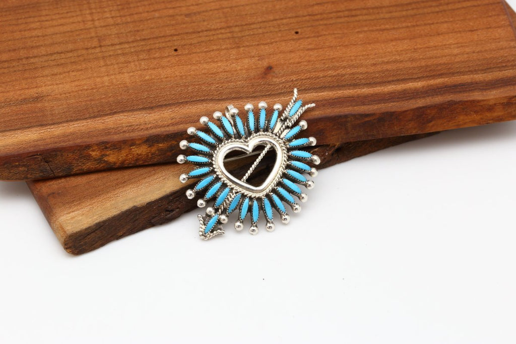 Zuni Sleeping Beauty Turquoise Heart Brooch-Lema's Kokopelli Gallery