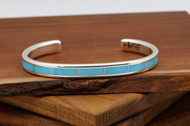 Zuni Sleeping Beauty Turquoise Inlay Bracelet-Lema's Kokopelli Gallery