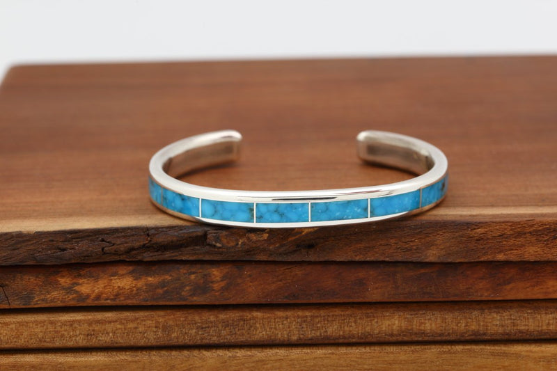 Zuni Sleeping Beauty Turquoise Inlay Bracelet