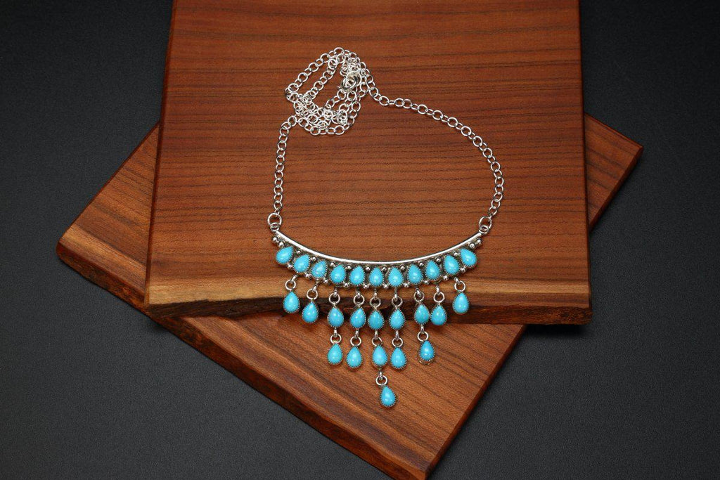 Zuni Sleeping Beauty Turquoise Necklace-Lema's Kokopelli Gallery