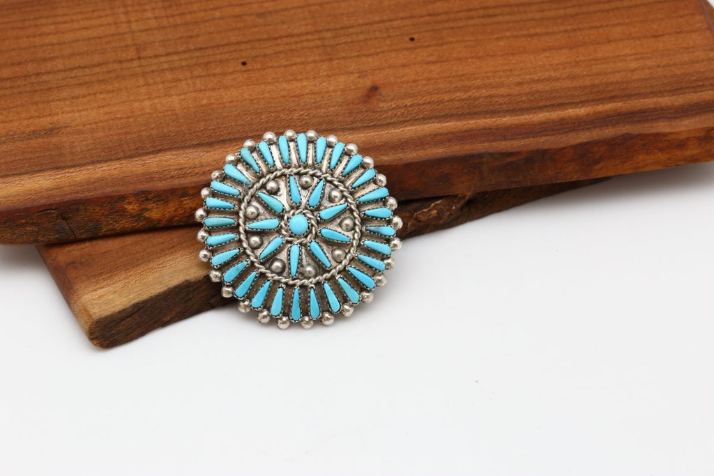 Zuni Sleeping Beauty Turquoise Round Brooch-Lema's Kokopelli Gallery