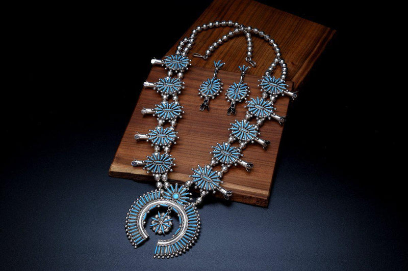 Zuni Sleeping Beauty Turquoise Squash Blossom Necklace-Lema's Kokopelli Gallery