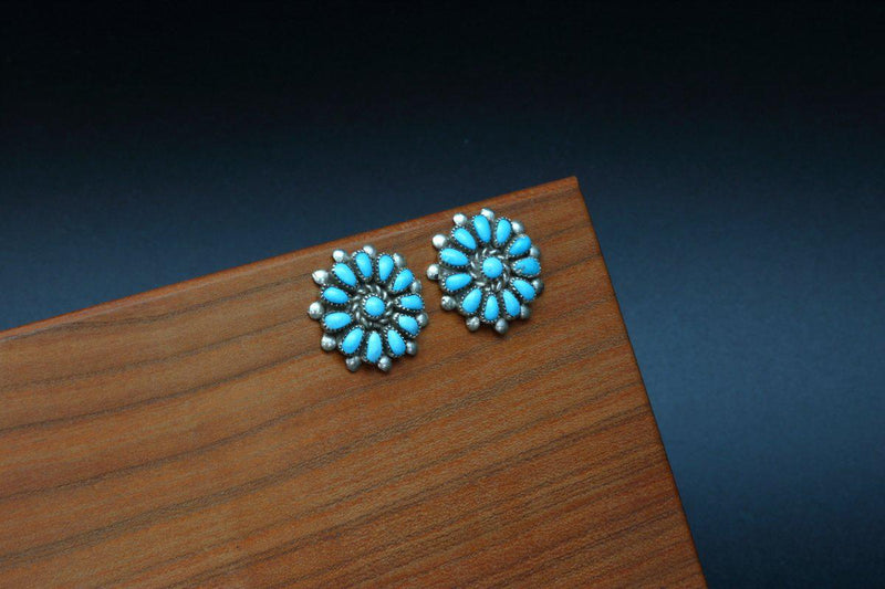 Zuni Sleeping Beauty Turquoise Stud Earrings-Lema's Kokopelli Gallery