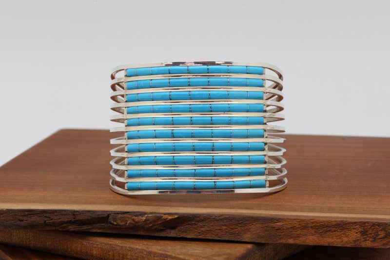 Zuni Ten Row Sleeping Beauty Turquoise Bracelet-Lema's Kokopelli Gallery