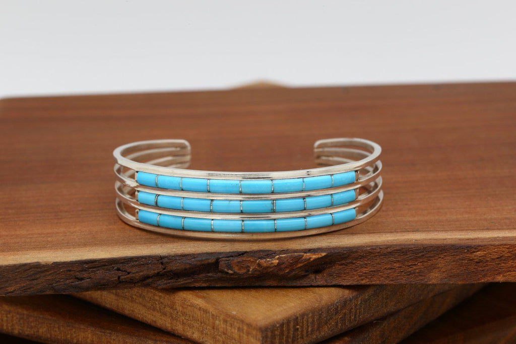 Zuni Three Row Turquoise Bracelet-Lema's Kokopelli Gallery