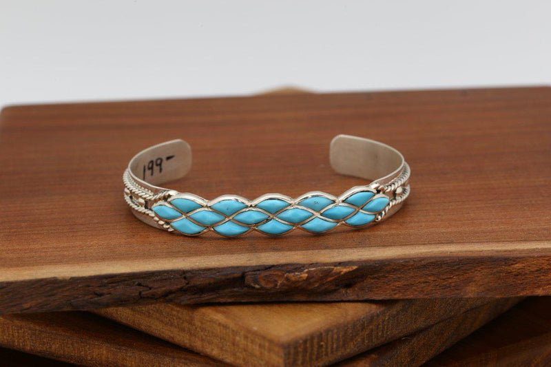 Zuni Turquoise Braid Inlay Bracelet-Lema's Kokopelli Gallery