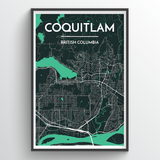 Affordable wholesale art prints of Coquitlam - City Map Art Print