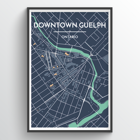 Affordable wholesale art prints of Downtown Guelph - City Map Art Print
