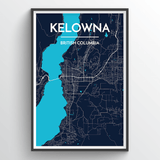 Affordable wholesale art prints of Kelowna - City Map Art Print