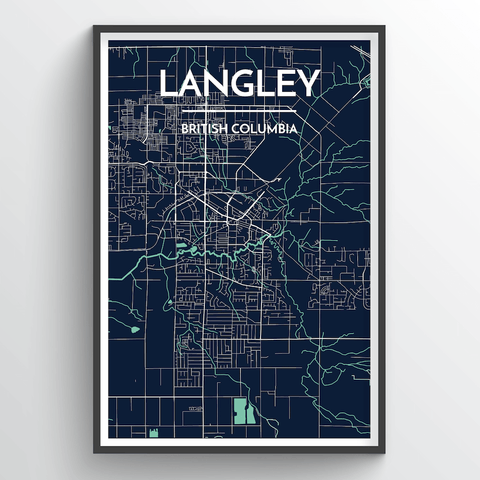 Affordable wholesale art prints of Langley - City Map Art Print