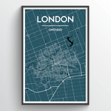 Affordable wholesale art prints of London Ontario - City Map Art Print