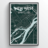 Affordable wholesale art prints of New Westminster - City Map Art Print