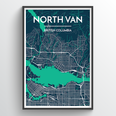 Affordable wholesale art prints of North Vancouver - City Map Art Print