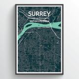 Affordable wholesale art prints of Surrey - City Map Art Print