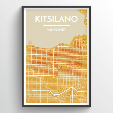 Affordable wholesale art prints of Kitsilano Vancouver - City Map Art Print