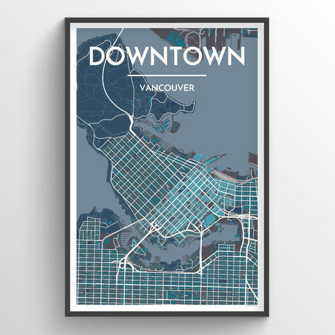 Affordable wholesale art prints of Downtown Vancouver - City Map Art Print