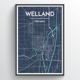 Affordable wholesale art prints of Welland - City Map Art Print