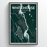 White Horse - Downtown City Map Print