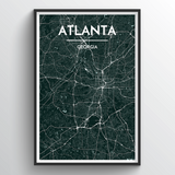 Affordable wholesale art prints of Atlanta - City Map Art Print