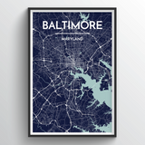 Affordable wholesale art prints of Baltimore - City Map Art Print