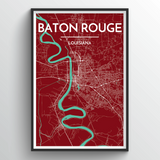 Affordable wholesale art prints of Baton Rouge - City Map Art Print