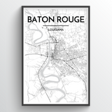 Baton Rouge Map Art