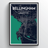 Affordable wholesale art prints of Bellingham - City Map Art Print