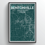 Affordable wholesale art prints of Bentonville - City Map Art Print