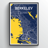 Affordable wholesale art prints of Berkeley - City Map Art Print
