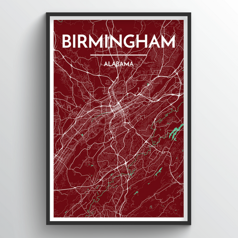 Affordable wholesale art prints of Birmingham - Alabama - City Map Art Print