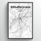 Birmingham - Alabama Map Art