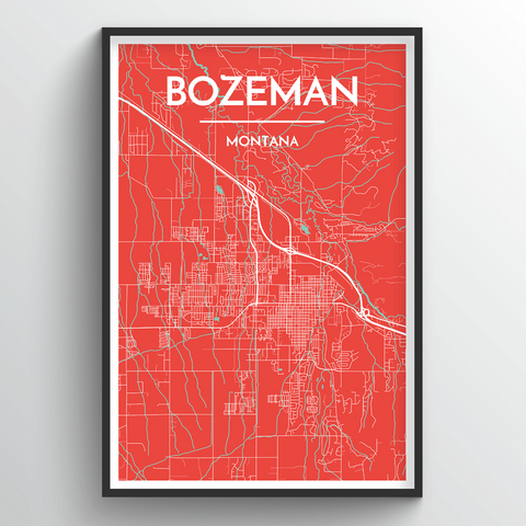 Affordable wholesale art prints of Bozeman - City Map Art Print