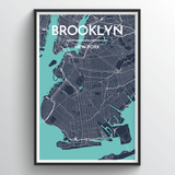 Affordable wholesale art prints of Brooklyn - City Map Art Print