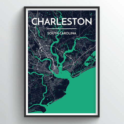 Affordable wholesale art prints of Charleston - City Map Art Print