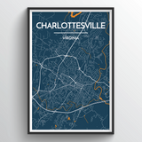 Affordable wholesale art prints of Charlottesville - City Map Art Print