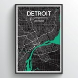 Affordable wholesale art prints of Detroit - City Map Art Print